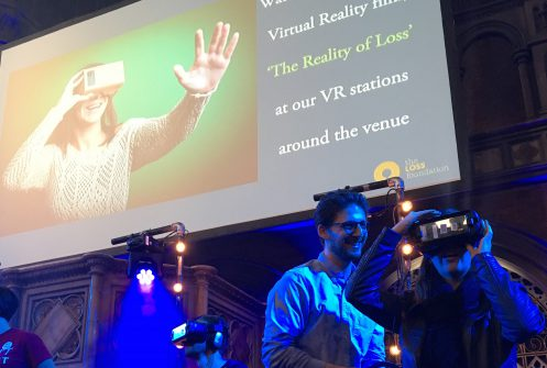 Potential donors try at VR at fundraising event