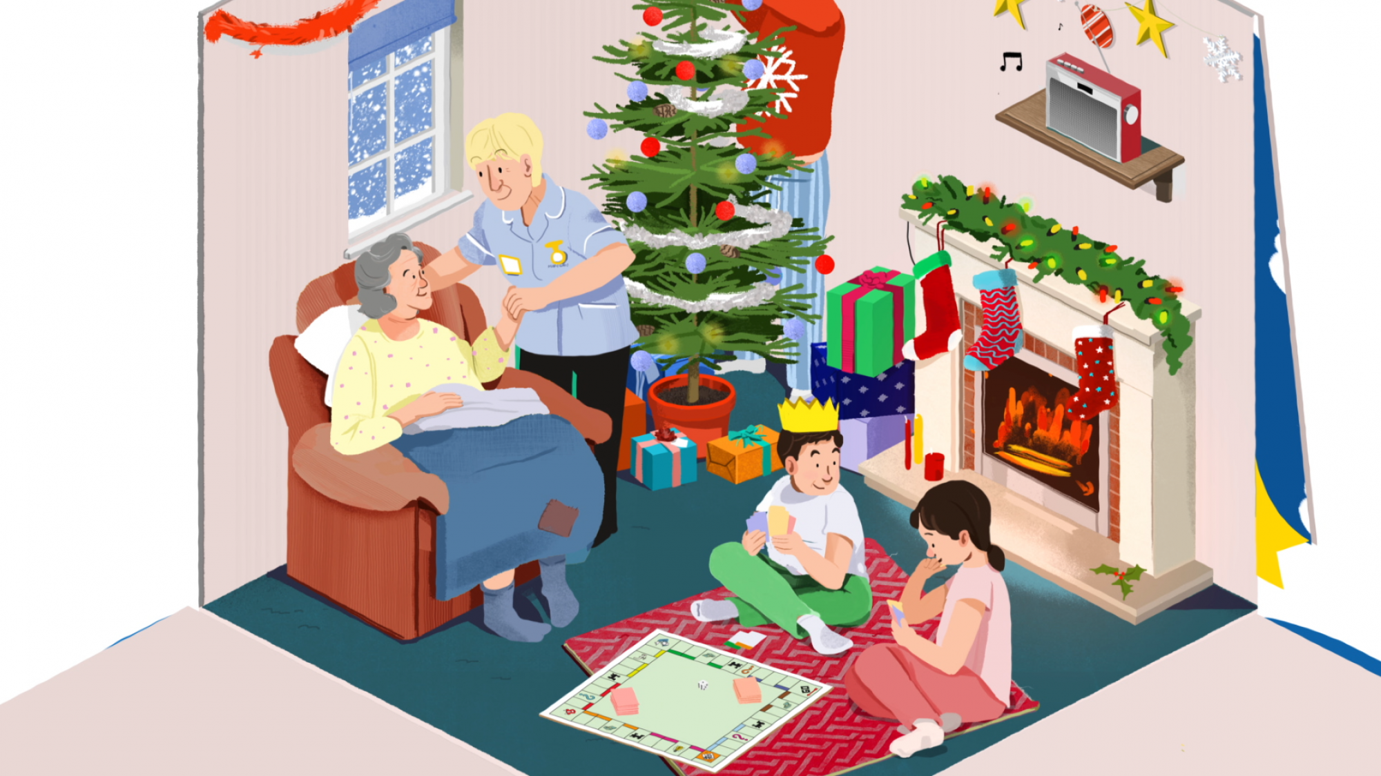 Animation of a family at Christmas, with a Marie Curie nurse