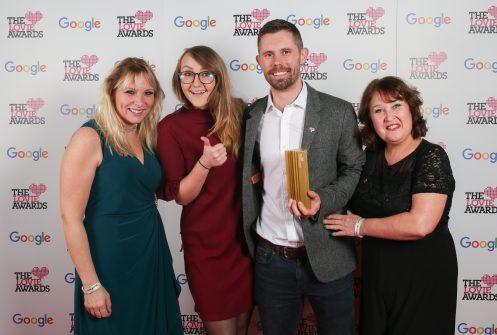 Creative agency Raw London team posing with European Lovie Award
