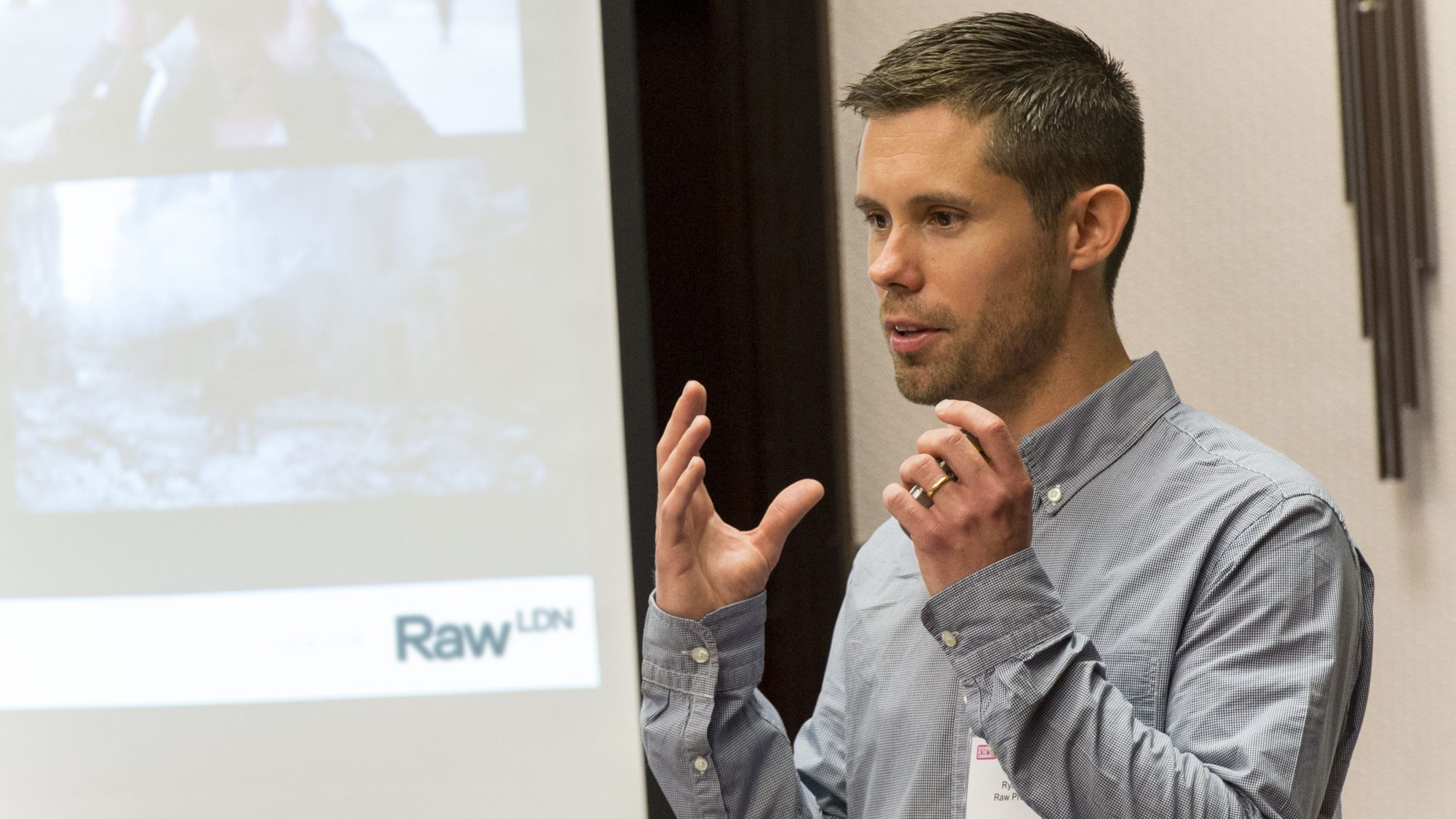 Ryan Wilkins sharing insight at Relay by Raw London charity event