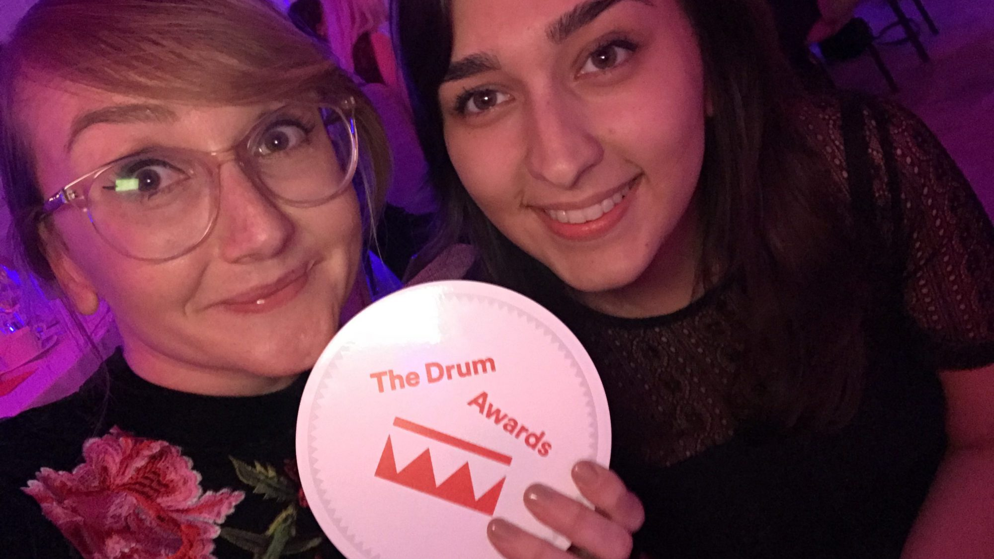 Raw London's Charlotte Harris and Yasmina Mermarian accepting Gold at The Drum Content Awards 2018