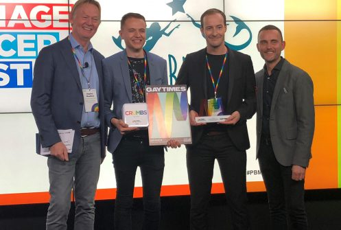 Raw London Creatives Thomas Paul Martin and James Page accepting the Pride Brand Makeover awards 2018