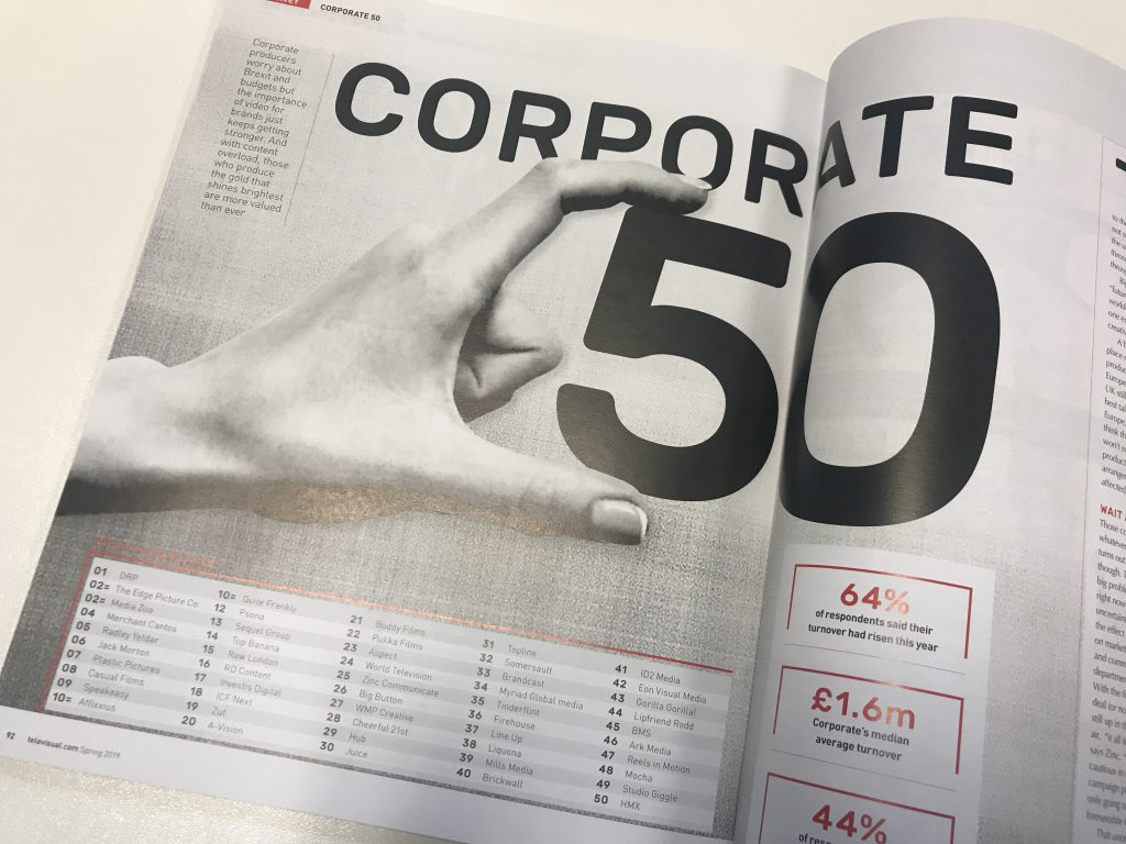 Televisual Top 50 Corporate Production Companies 2019 Raw London 15th Place