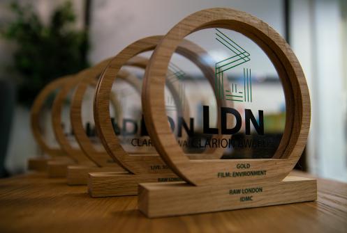 EVCOM Clarion Awards 2019 trophies