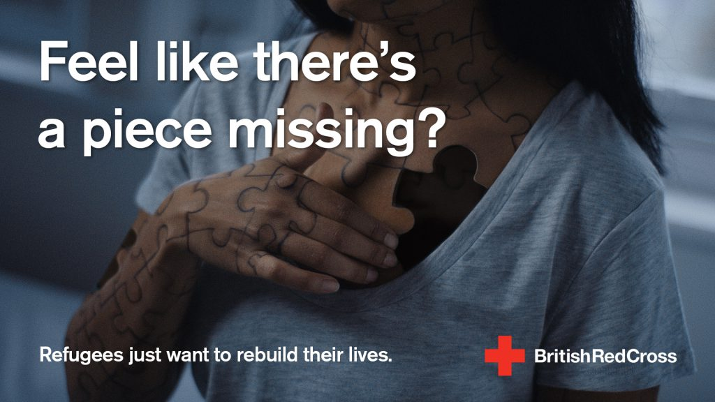A social media asset from British Red Cross' Rebuilding Lives campaign