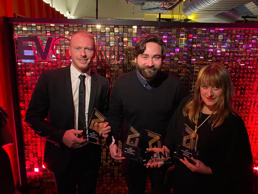 Raw London team at EVCOM Film Awards 2019 - Amber Parsons, Lee Jones and Ed Hardy