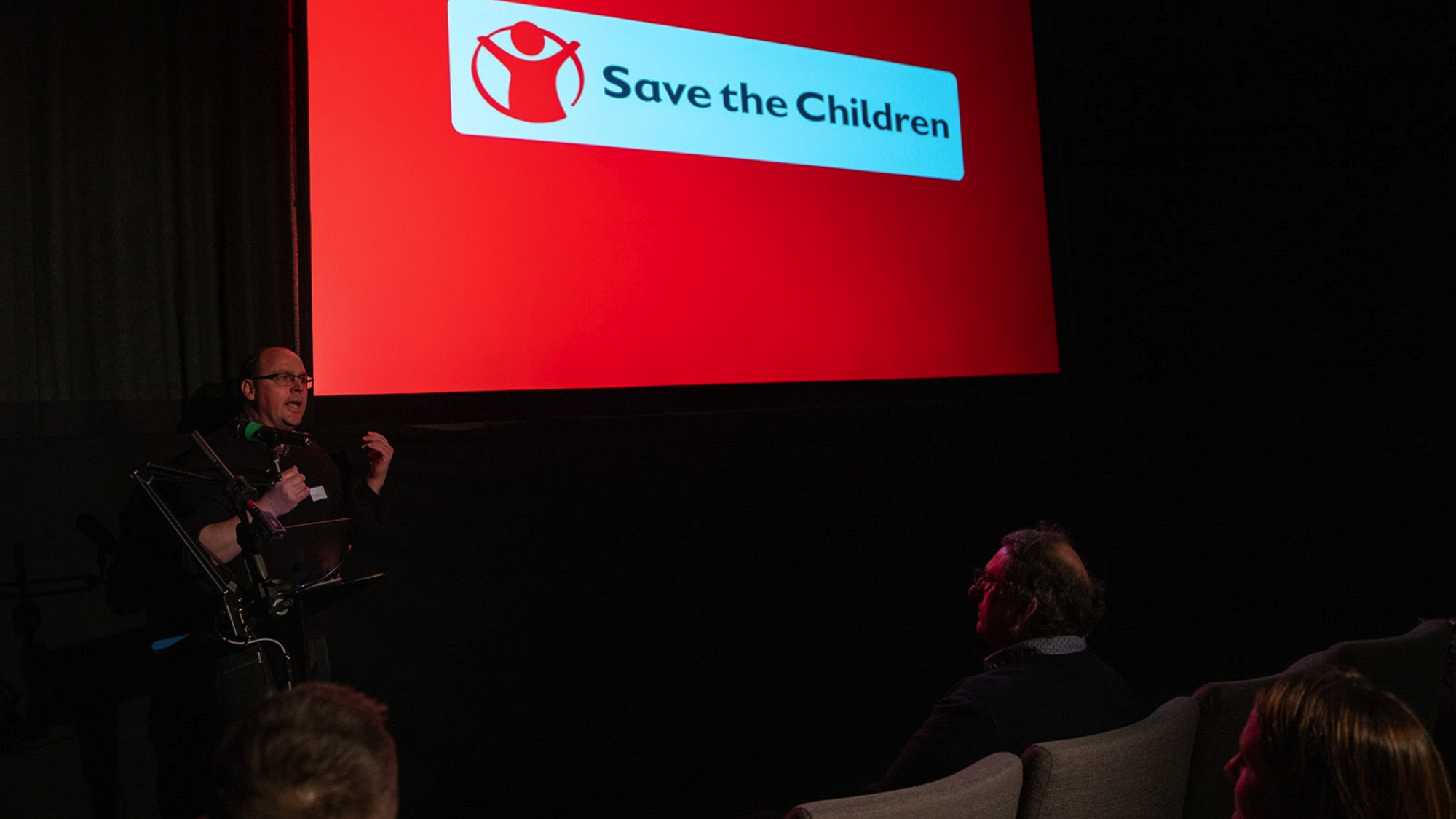 Speaker from Save the Children at Raw London's Relay event