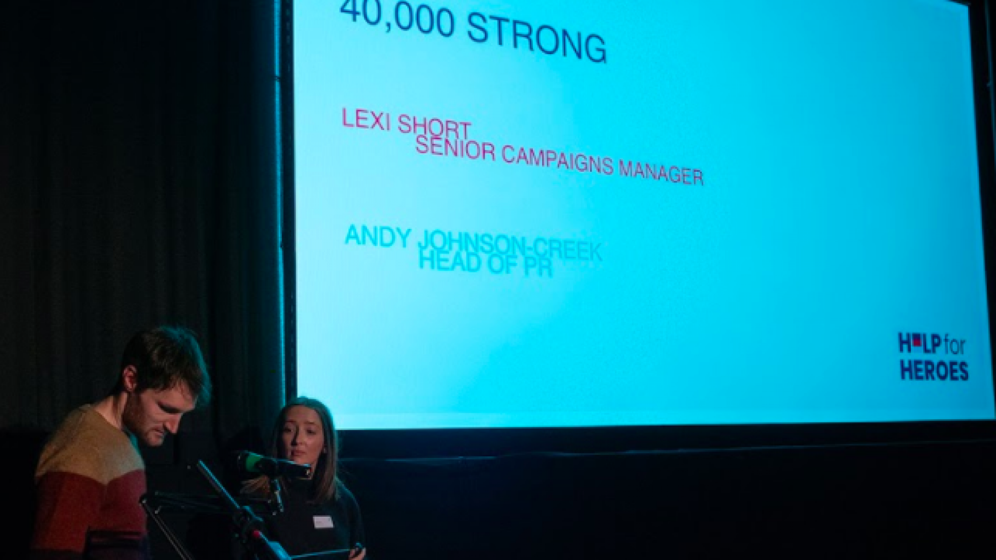 Speaker from Help4Heroes at Raw London's Relay event