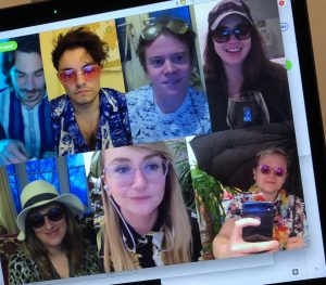 video conference call with 7 people dressed in summer clothes