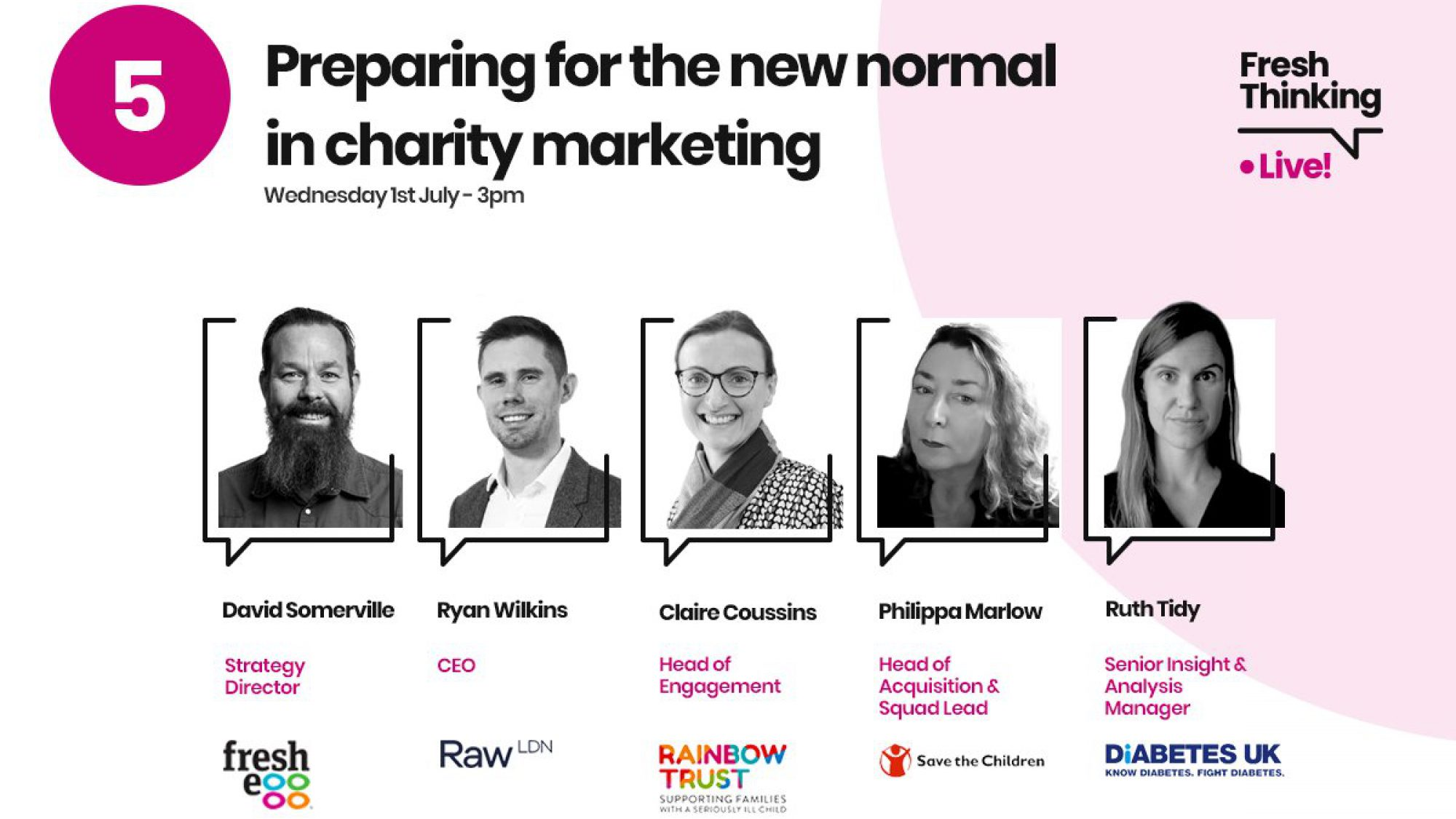 Headshots of charity panelists for webinar 'Preparing for the new normal in charity marketing'