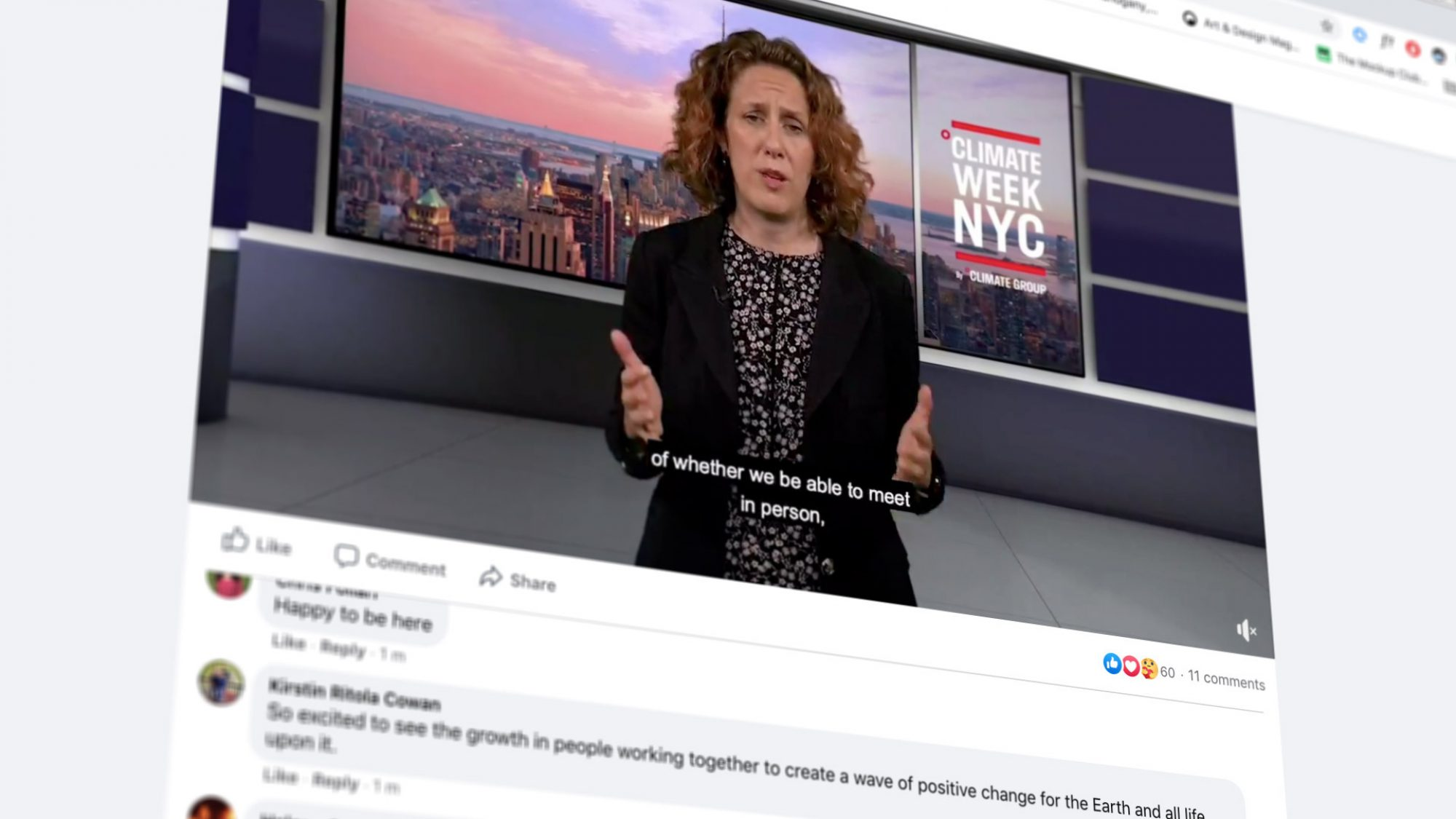 Facebook video from Climate Week NYC 2020
