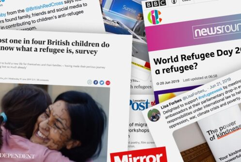 Collage of newspaper clippings from British Red Cross #RefugeeWeek video campaign