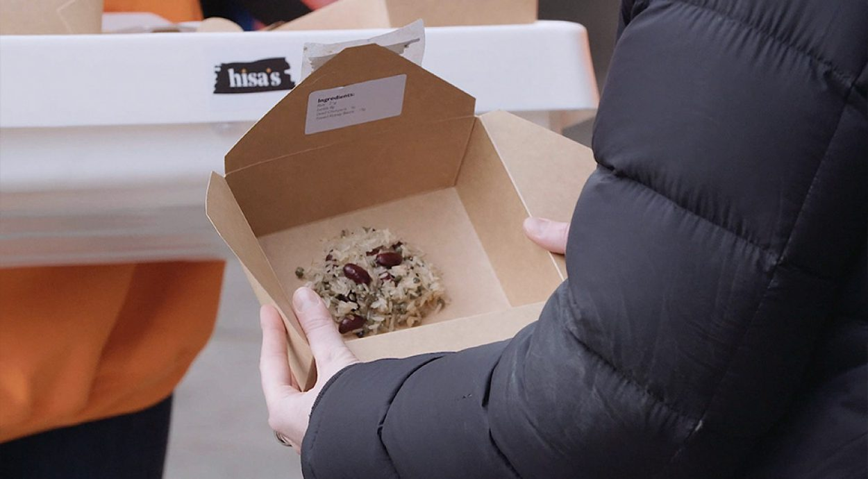 Lunchbox with the contents of a refugee ration inside