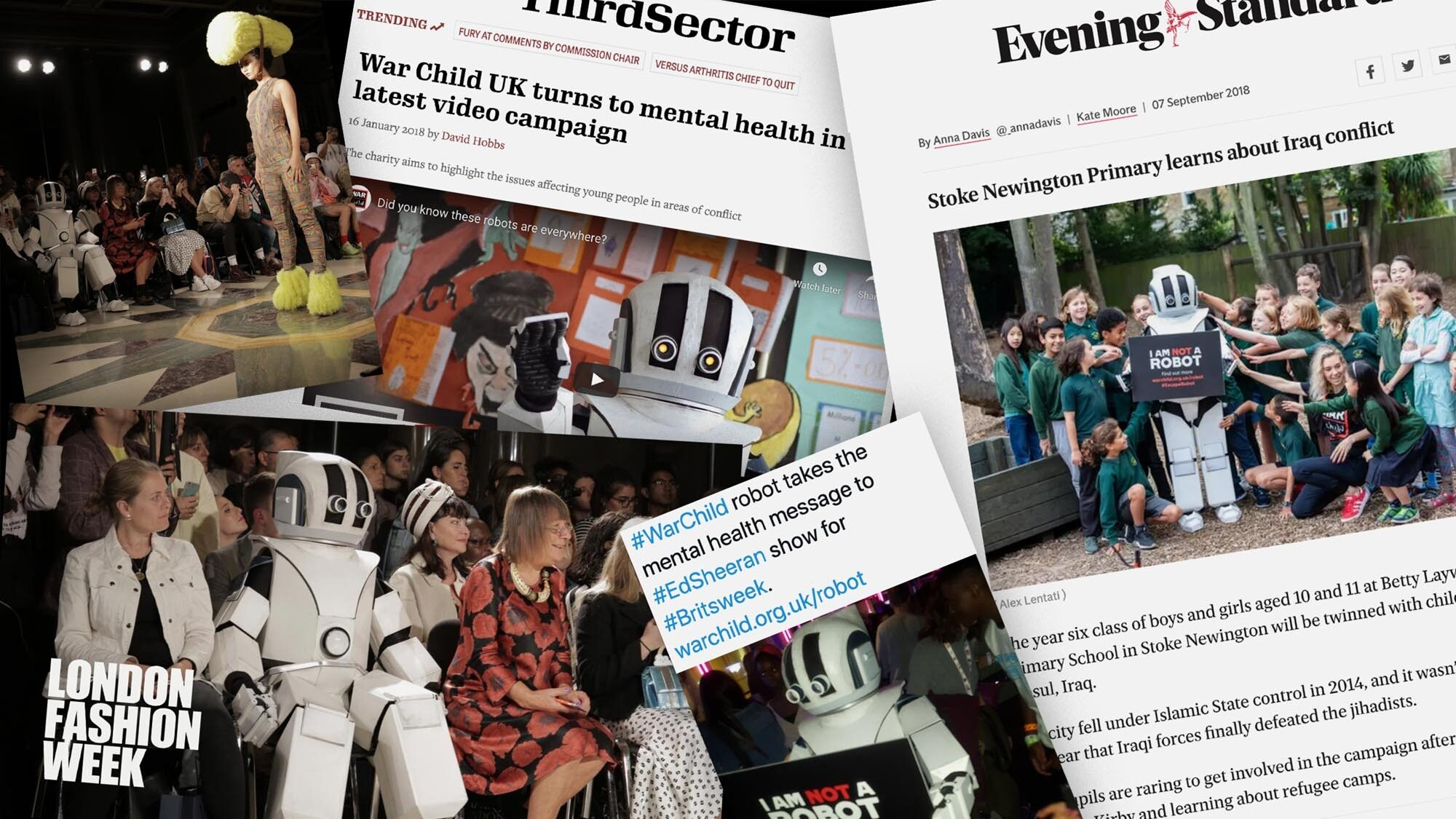 News clippings and headlines from War Child's #EscapeRobot campaign