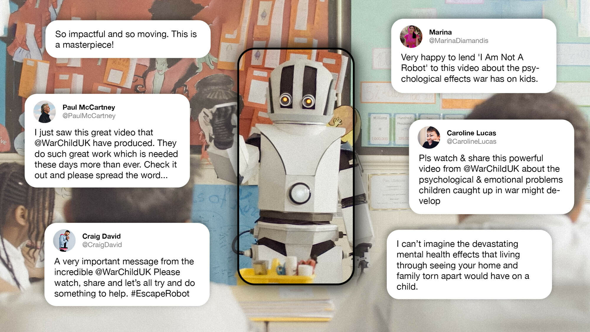Positive social media comments from War Child's #EscapeRobot campaign