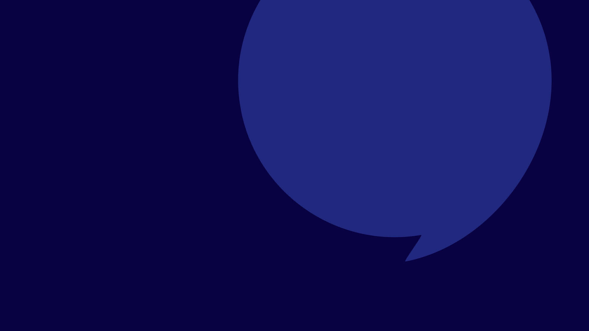 Speech bubble graphic on a dark blue background