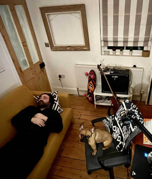 Raw London's Creative Lead, Ed Hardy asleep next to his dog