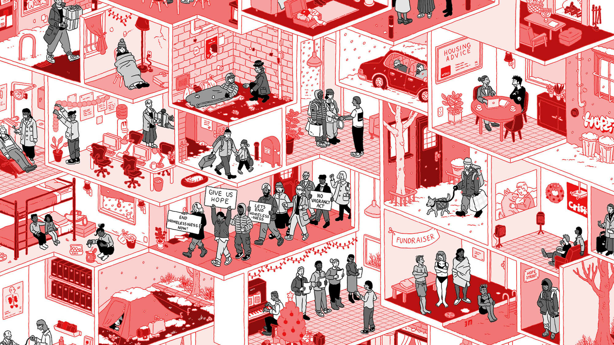 Layed illustration of various rooms from different households, representing different types of homelessness
