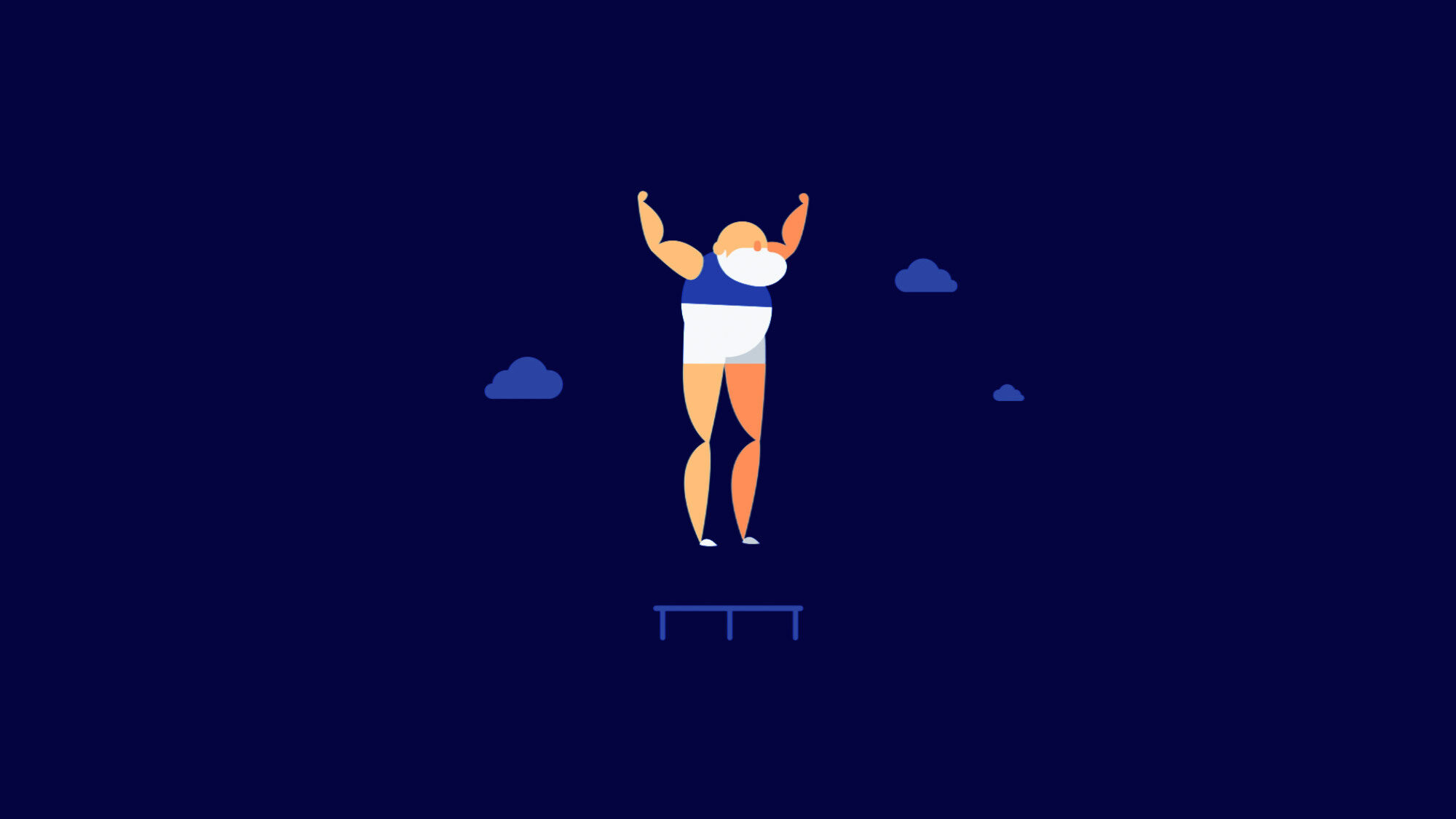 A fun animation of an old man jumping on a trampoline over a blue background