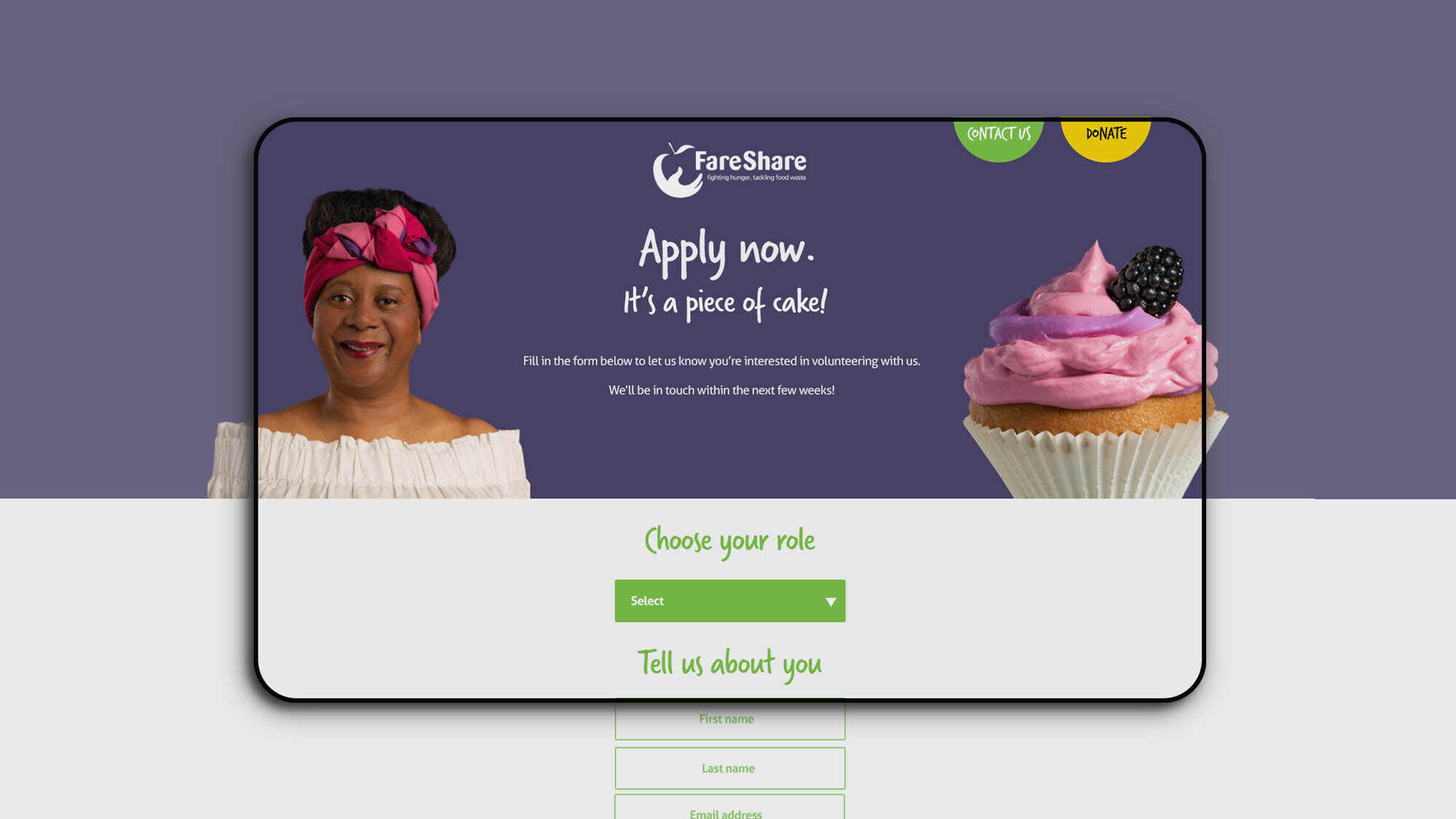 FareShare's volunteer campaign home page