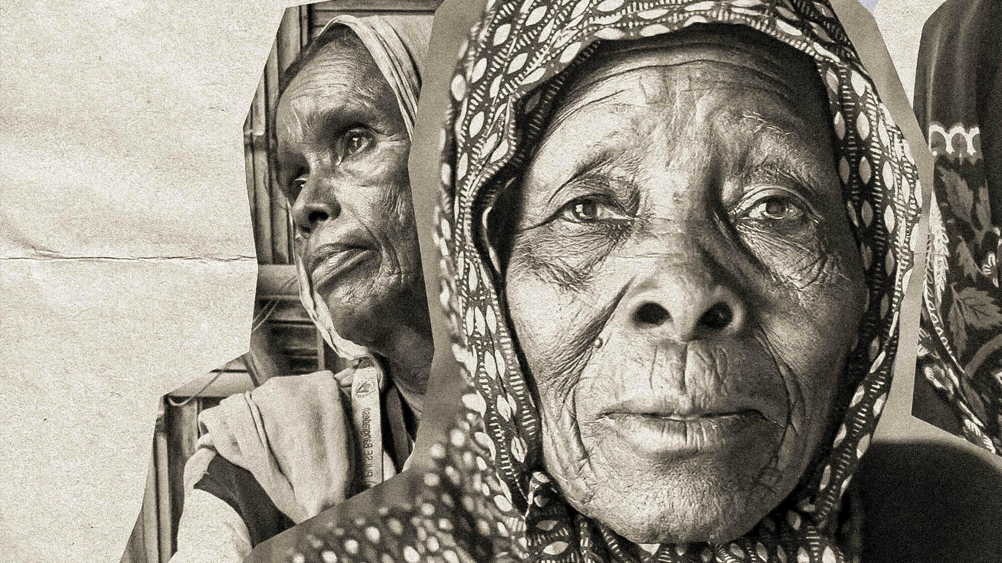 Sketchbook illustration using black and white photographs of 2 refugee women