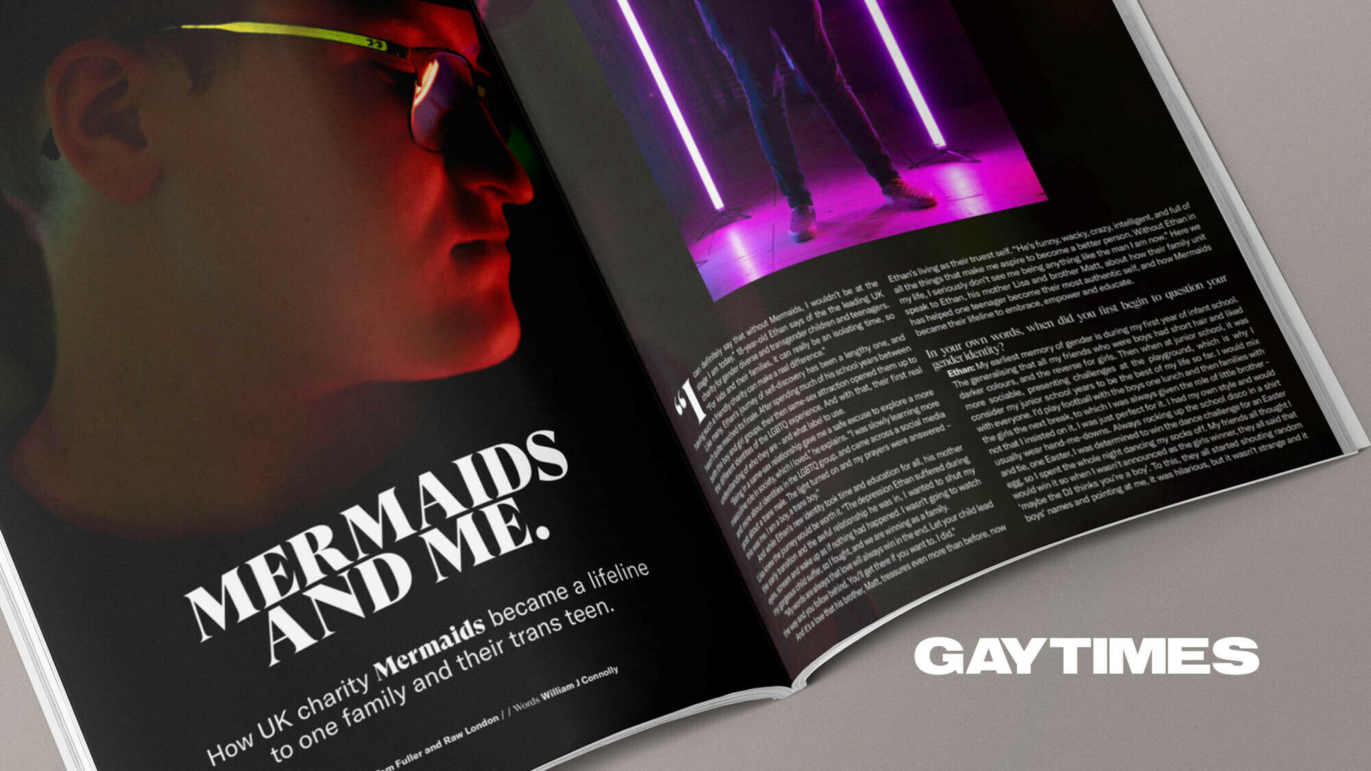 Gay Times magazine with Mermaids UK & Raw London double spread feature