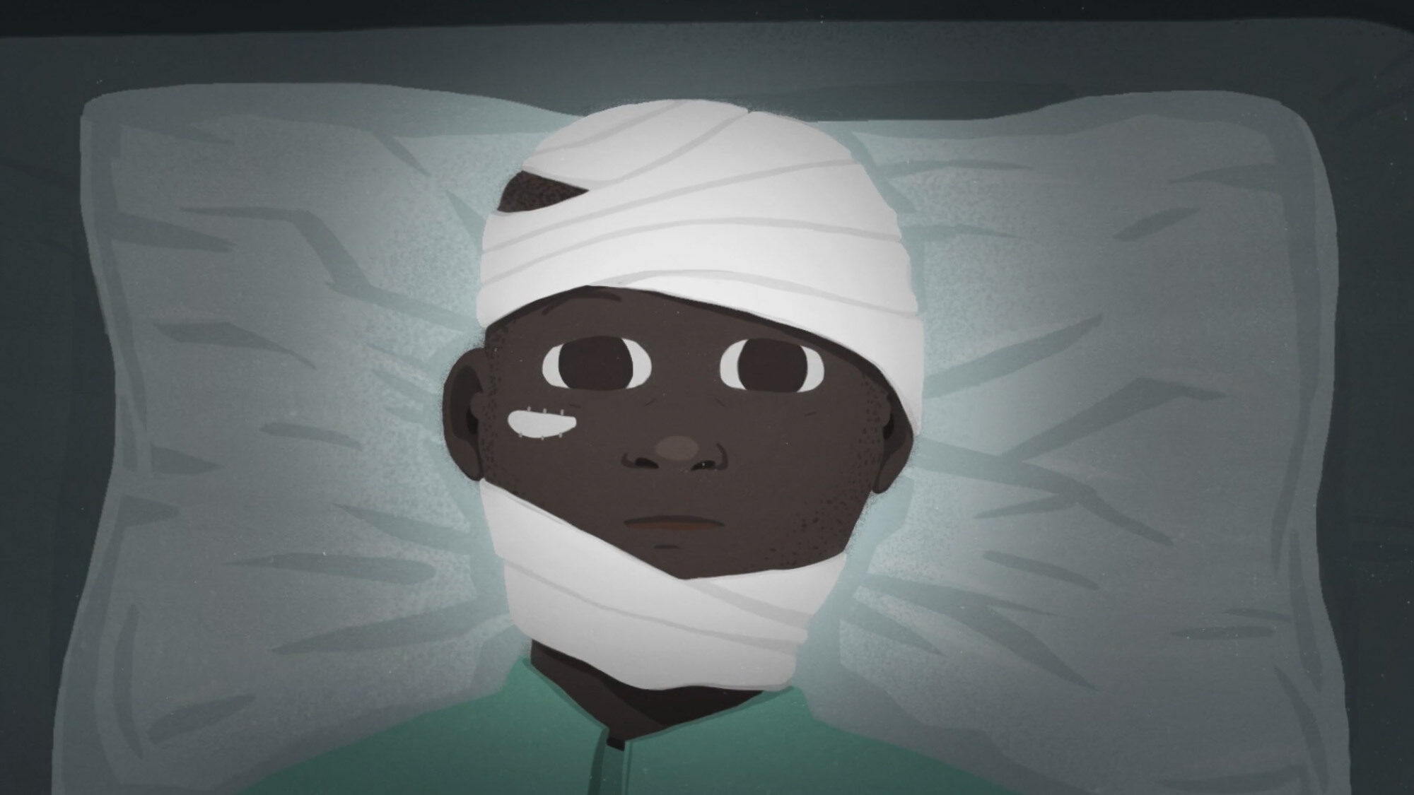 Illustration of a wounded veteran whose head is wrapped in bandages.