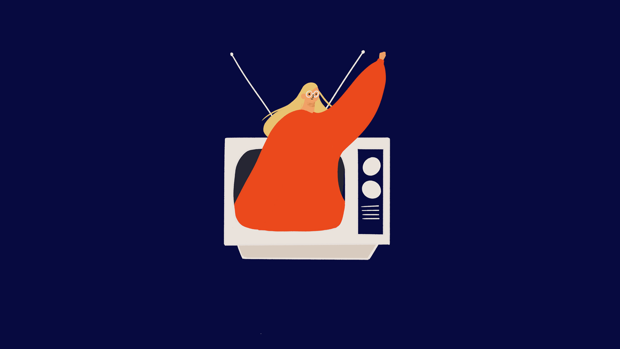 Illustration of woman waving from a TV fundraising ad