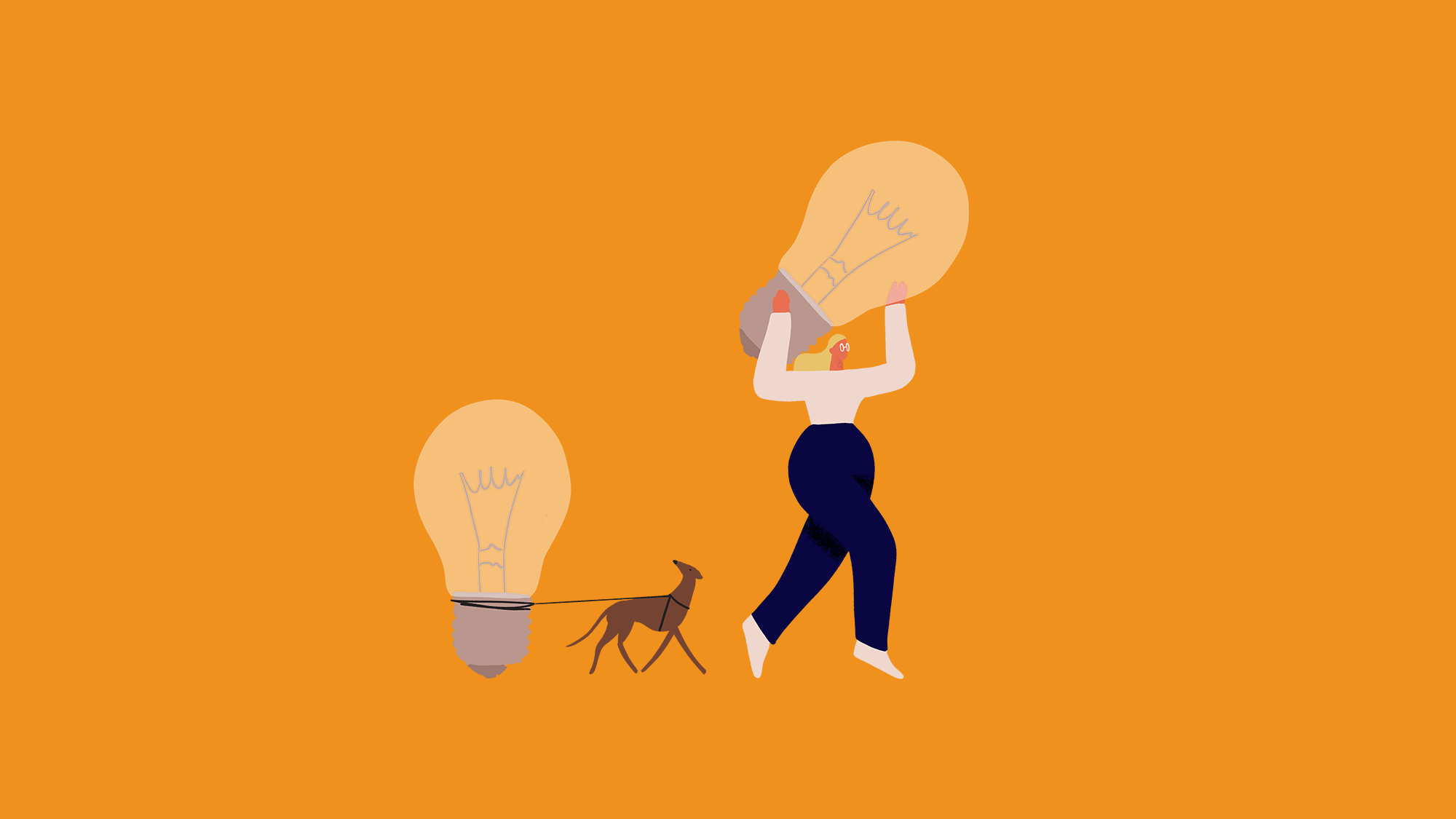 Illustration of a woman and a dog carrying lightbulbs